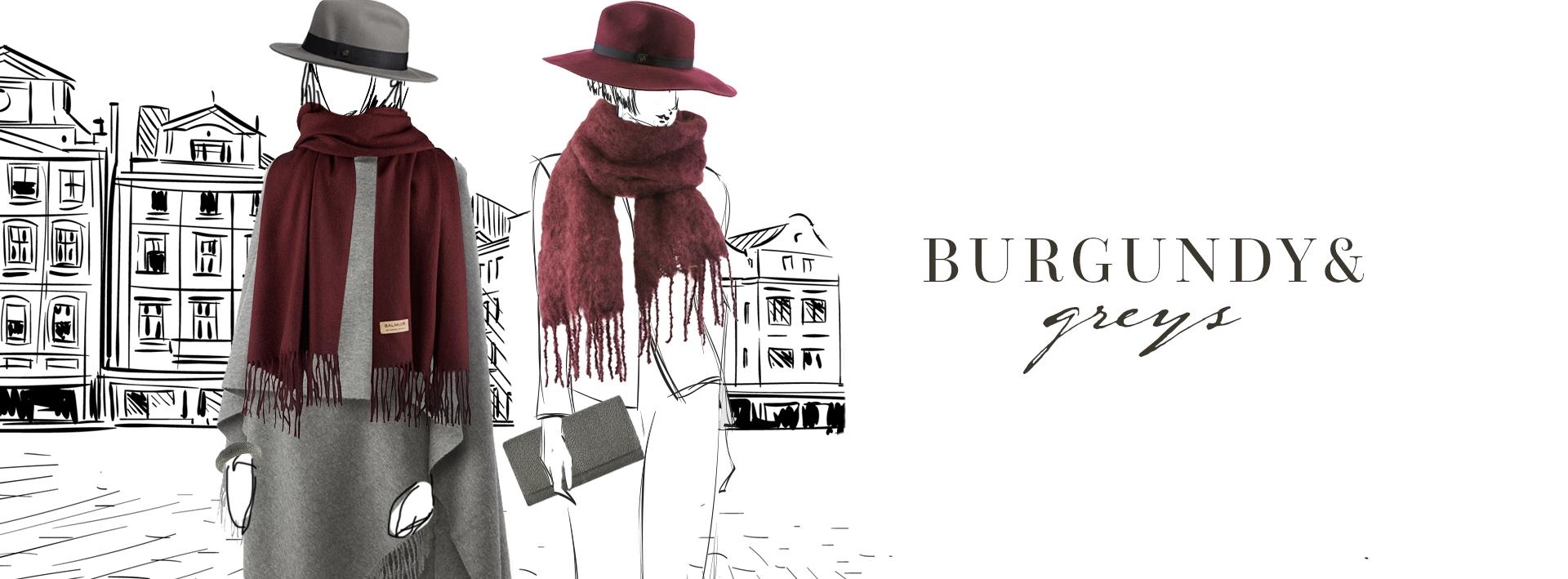 Burgundy & Greys