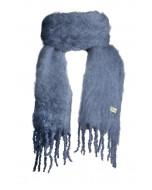 Aurora kid mohair scarf, 35x160cm, stormy blue
