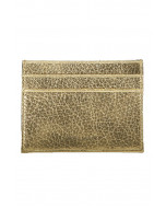 Cole card holder, natural grain leather, gold metallic