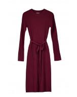 Edna rib dress, XS-XL, wine red