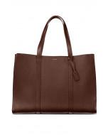 Ellie large tote,nat grain leather,brown/gold