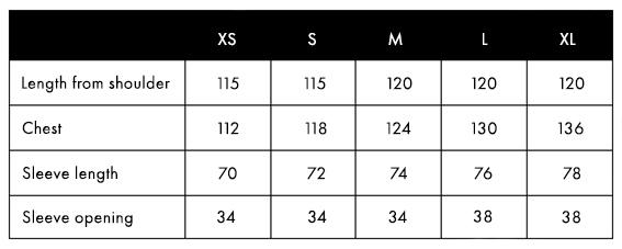 Balmuir Portofino Size Chart