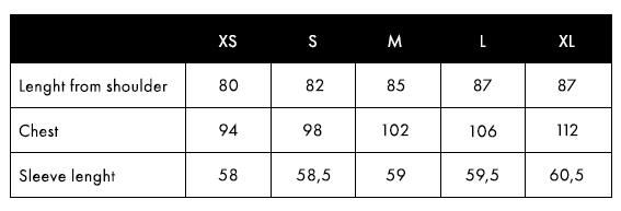 Balmuir Venize Size Chart
